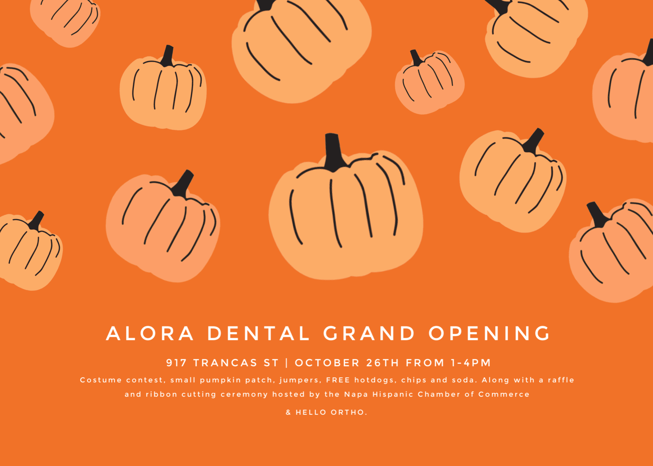 alora dental grand opening with falling pumpkins